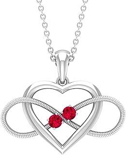 قلادة قلب إنفينيتي مع الياقوت الأحمر، قلادتان من الحجر (جودة AAAA)