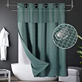 Lagute SnapHook Waffle Weave Fabric Hook Free Shower Curtain with Snap-in Liner, Heavy Duty Bath Curtain with See Through Top, Hotel Grade, Water Repellent, Machine Washable, 71Wx78L, Sea Teal