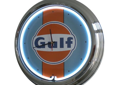 Neon Uhr Gulf Racing Wanduhr Deko-Uhr Leuchtuhr USA 50's Style Retro Uhr Neonuhr