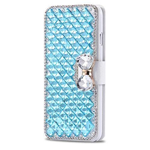 Homikon PU Leder Hülle Retro Schön Glänzend Glitzer Diamant Schmetterling Schutzhülle Brieftasche Ledertasche Handyhülle Mädchen Frau Flip Wallet Case Kompatibel mit Samsung Galaxy S5/S5 Neo - Blau