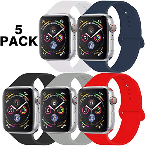 GZ GZHISY Pack 5 Sport Bands Compatible for Apple Watch Band 42mm 44mm, Soft Silicone Band Sport Strap Compatible for iWatch Series 5/4/3/2/1 (White/Midnight Blue/Black/Concrete/Red, S/M)
