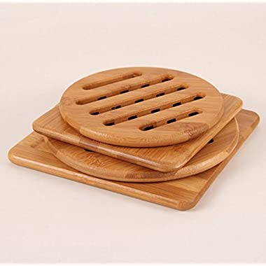 Alfto Solid Bamboo Wood Trivets with Non-slip Pads for Hot Dishes and Pot 4pcs