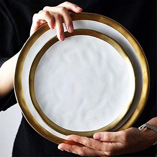 ZRB Juego de Platos, Cerámica Cena Conjuntos Cena Placas Conjunto Negro Vajilla Set Porcelana Servicio de Porcelana Placa de Cocina Electrodomésticos Cocina Supplie Soup Bowl