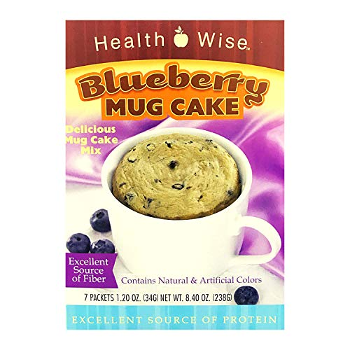 Healthwise - High Protein (15 Grams) Blueberry Mug Cake Mix - 7 Servings Per Box - Ready in under a Minute - Low Calorie - High Fiber - Low Sugar - Gluten Free (1 Pack)