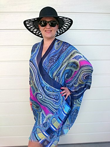 Blue Kimono Robe, Paisley Beach Cover Up, Silk Plus Size Jacket