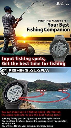 LAD WEATHER Fishing Master Watch - Fish Alarm, Storm Alarm, Altimeter, Barometer, and Weather Monitors (bkbk)