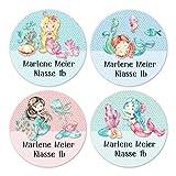 24 individuelle Namensaufkleber zum Markieren von Heften und Schul-Büchern - Meerjungfrauen - personalisierte Sticker für Kinder - Geschenk zur Einschulung - für die Schule - Schulbuchetiketten