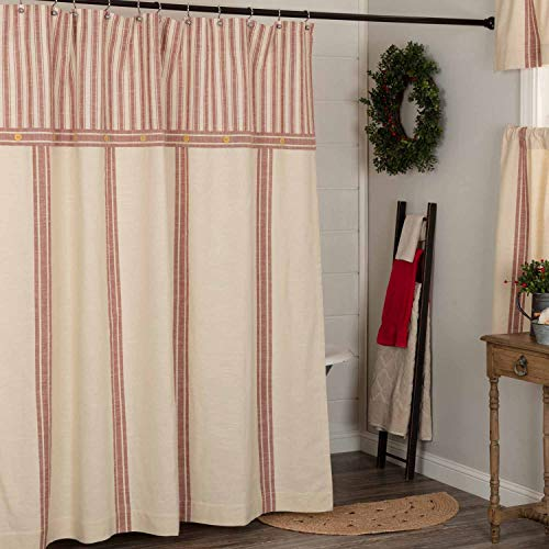 """Market Place Red Grain Sack Stripe Shower Curtain, 72"""" x 72"""", w/ Ticking Stripe Accent and Button Details, Farmhouse Style Bathroom"""