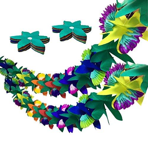 2pcs Tropical Flower Garlands - 9ft Tissue Flower Luau Garland - Hawaiian Garlands for Island Beach Party Tropical Luau Birthday Party Hawaiian Wedding Baby Shower Jungle Party Decorations