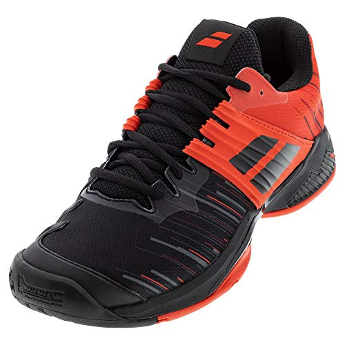Babolat Men`s Propulse Fury All Court Tennis Shoes Black and Tomato Red (10.5)