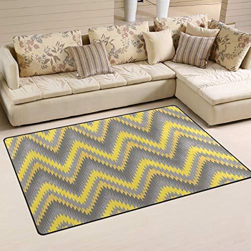 Alfombra antideslizante de Chevron amarilla y gris, 72 x 48 pulgadas, alfombra moderna para salón, dormitorio, comedor