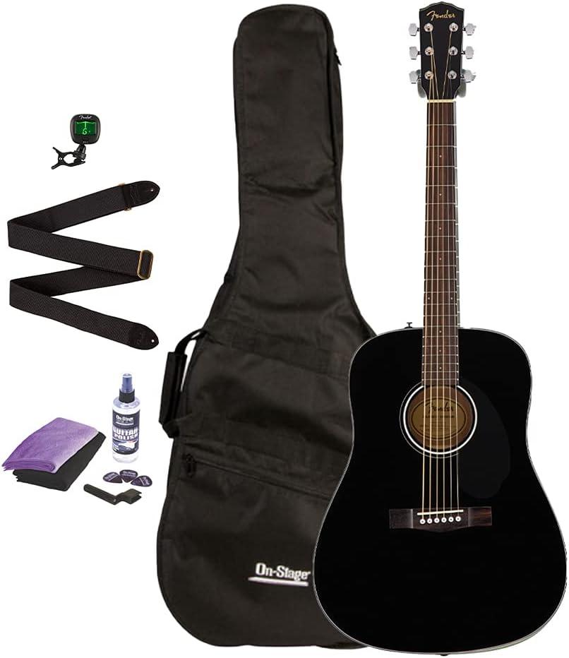 Fender CD-60S Dreadnought Black Minneapolis Mall Acoustic Bundl New Orleans Mall Guitar Bag w Gig