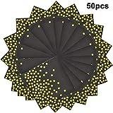 Disino 50 Stück Servietten Schwarz Gold für Party, 33 X 33 cm Servietten Papier Biologisch Abbauba für Birthday Party, Hochzeit, Weihnachten, Neujahr