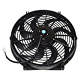 A-Team Performance 110011 Universal Electrical Radiator Cooling Fan 14' Heavy Duty 12 Volts Wide Curved 8 Blades 2400 CFM Reversible Push or Pull with Mounting Kit