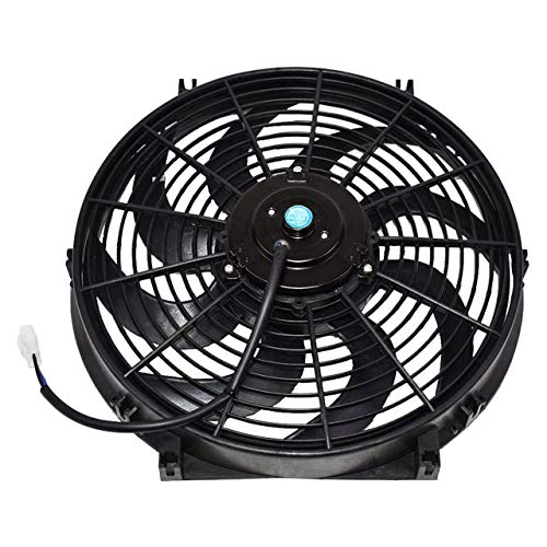 "A-Team Performance 110011 Universal Electrical Radiator Cooling Fan 14"" Heavy Duty 12 Volts Wide Curved 8 Blades 2400 CFM Reversible Push or Pull with Mounting Kit"