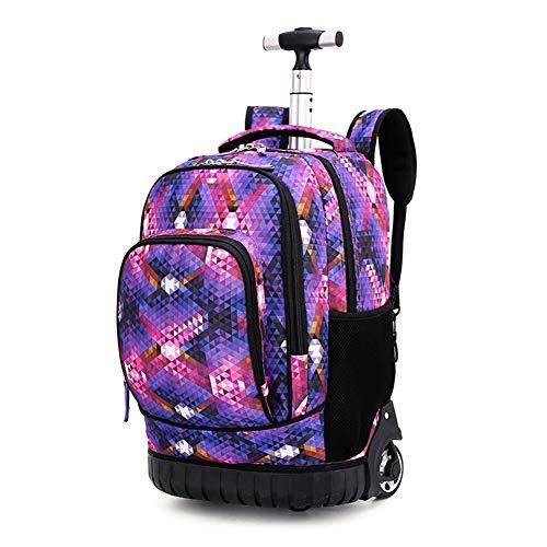 Maleta cabina trolley bolsa para mujer o hombre, regalo de vuelta a la escuela, mochila con ruedas, maleta, equipaje, cabina, viaje, escuela, bolso para niño o niña, deporte, f (Morado)