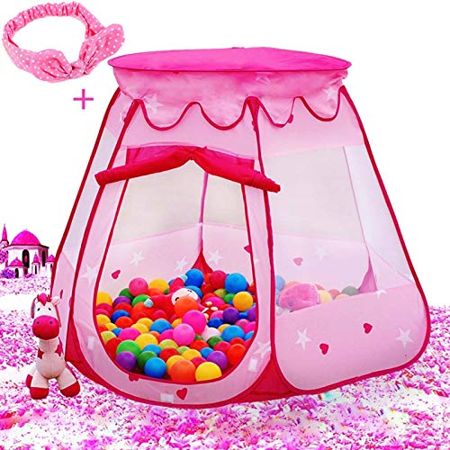 Le Papillon Pink Princess Tent Kids Ball Pit 1st Gift Toddler Girl Easy Pop Up Fold into a Carrying Case Play Tent Indoor & Outdoor Use.(Balls Not Included)
