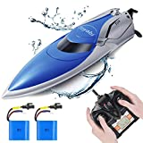 GizmoVine RC Boat-20+MPH High Speed RC Racing Boats, Capsize Recovery, Low Battery Alarm Boat Toys for Pools and Lakes with 2 Rechargeable Batteries Gift for Boys Girls Kids, Updated Version(H106)
