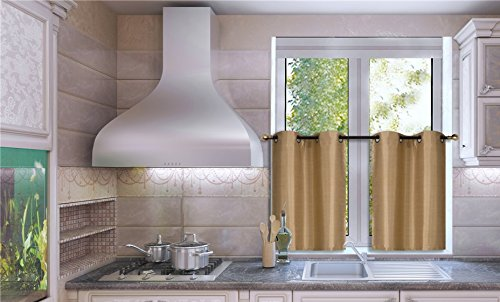 """GorgeousHomeLinen (N25) 2 PC 30"""" X 36"""" (Each) Kitchen Antique Grommets Window Tier Curtain Panel Unlined Semi Sheerin Assorted Solid Colors (Gold)"""
