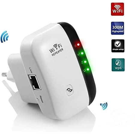 Teabelle Repetidor de WiFi Extensor de Red WiFi Repeater Mini (2,4 GHz, 300 Mbps, Puerto Fast Ethernet, WPS, Modo Ap Punto Acceso y Extensor, Antenas ...