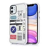 Handy Case Cover Schutz Hülle iPhone Boarding Pass Flugticket, Stempel Länder Einreise TIJARO (iPhone 11, Flugticket)