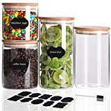TIANGR Glass Food Storage Jar【4 PC/Set】 - Airtight food container with lid | Kitchen Canisters Set - For Coffee Bean,Sugar,Cookie,Snack and More Kitchen Pantry Food Storage,Include 10 Labels & Marker