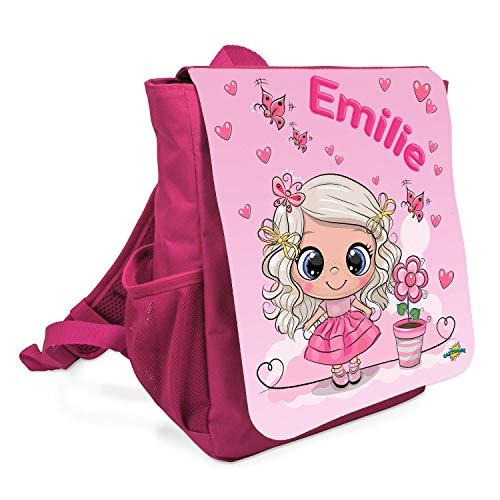Personalisierter Kinderrucksack mit individuellem Namen – Kinder Rucksack mit Brustgurt geeignet für Kita oder Kindergarten – Tasche mit süßem Mädchen und Wunschnamen für Jungen und Mädchen (Pink)