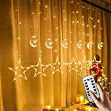 FUCHSUN 138 Led Curtain String Light Star Moon Icicle Light with 8 Lighting Modes Timer Remote USB Operated Dimmable Fairy String for Window Wall Home Decoration (Crescent Warm White)
