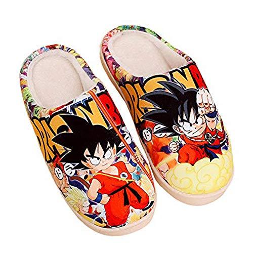 Japanische Manga Plüsch Hausschuhe Herren Damen Herbst und Winter Pantoffeln Baumwolle Wärme rutschfeste Schuhe Bodenschuhe-Dragon_Ball_Z_UK_6-7.5 / EU_39-42 (280mm)