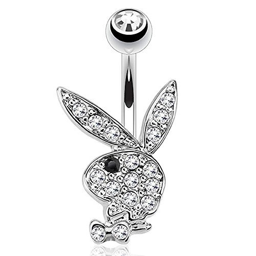 """Pierce2GO Playboy 14G 316L Surgical Steel Belly Button Ring Mixed Colors 3/8"""" Barbell (Silver with Black)"""