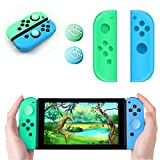 Joy-Con Silicone Cover and 2PCS Thumb Grip Caps for Switch, L/R Gel Guards Skin Joy-Con Case with Joystick Caps Leaf Crossing, Joycon Pad & 2 Analog Joystick Thumb Grips for Switch Joy-Con Controller