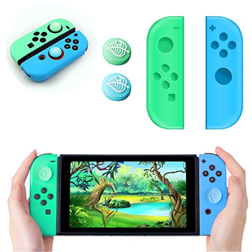 Joy-Con Caps and 2 Joystick Cover for Nintendo Switch, Joy Con Controller Replacement with 2 Thumb Stick Grip Cap Leaf Crossing Switch, Silicone Joycon Pad Hülle +2 Analog Stick Cover
