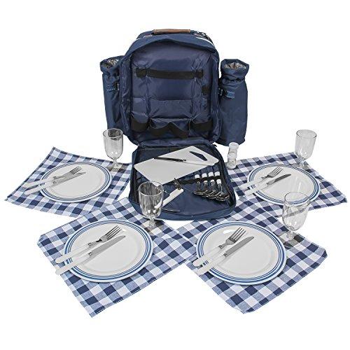 Inspirion - Zaino per picnic completo di stoviglie, posate e thermos per 4 persone