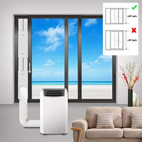 Aozzy Ajustable Diapositiva Kit Placa De Aire Acondicionado - Cubierta Aislante para Puertas para Aparatos De Secadoras y Air Acondicionado 87'×6.4' con Adaptador φ 5.9'