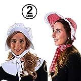 Tigerdoe Mob Cap - White Mop Hat Bonnet Colonial Costume Accessory, Revolutionary Dress up (2 Pack Bonnets)
