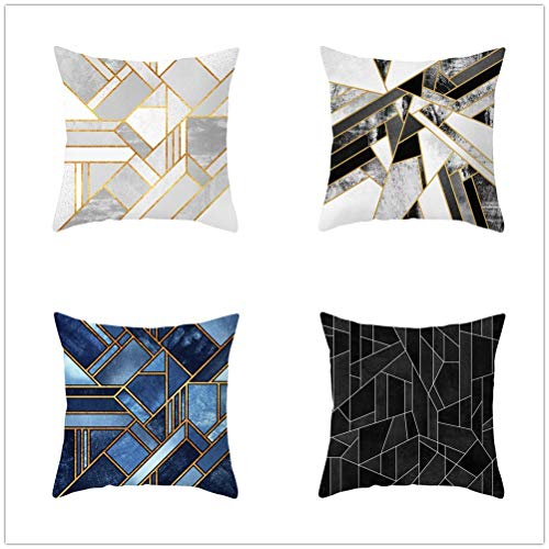 Set of 4 Pcs Throw Pillow Case Cushion Covers Geometry Velvet Soft Superfine Fiber Square Decorative Throw Pillowcases for Living Room Sofa Bedroom Car with Concealed Zip E4900 60x60cm/23.4x23.4in