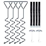 Sportneer Heavy Duty Galvanized Trampoline Anchor Tie Down Kit with Spring Pull Tool,...