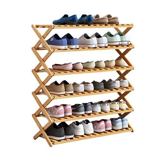 M-YN Zapatero 6 Niveles de bambú Plegable for 12-30 Pares de Organizador de Zapatos de Almacenamiento de pie con Tela Impermeable, fácil de Montar (Size : L70CM)