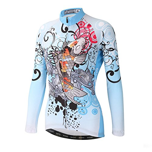 DuShow Women Cycling Jersey Long Sleeve Bike Jersey Breathable Quick Dry Cycling Shirts with Pockets(XL,Blue