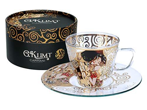Gustav Klimt Carmani Kaffeetasse und Untertasse aus Glas, mit Aufschrift