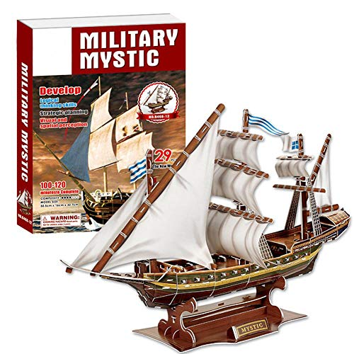 Dilwe 3D Rompecabezas de Juguete, Barco Pirata Misterioso Modelo Ensamblado 3D Puzzle Juguete de la Nave para Ni?os, 129pcs