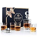 Sweejar Whisky-Dekanter-Set mit 4 Whisky-Gläsern (5 Stück), bleifreier Kristall-Liquor, Wodka, Brandy, Scotch, Borubon, Rum Whisky-Steine, exquisite Geschenkbox Bourbon-style-set