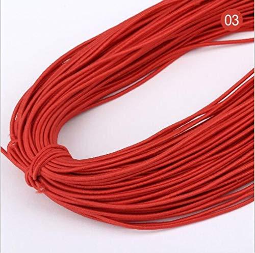 Hoge 20yards 1 mm Aantal elastische band om haarkleur elastiek strekt de rubberen band line DIY naaiaccessoires,03 rood,20 yards