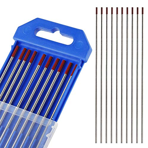 Wilktop 10 x Electrodos de Tungsteno, WT-20 Electrodos de Tungsteno 2,4Ø x 175mm Agujas de Tungsteno para Soldadura TIG (Rojo)
