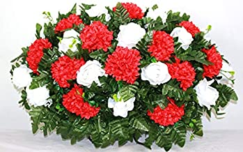 XL Red Carnations and White Roses Artificial Silk Flower Cemetery Tombstone Grave Saddle