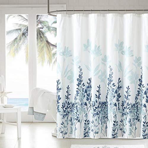 WELTRXE Duschvorhang aus Stoff, 183 x 183 cm, schwerer Duschvorhang mit Blumen, wasserdicht, Polyester, mit 12 Haken für Badezimmer, Duschen, Badewannen