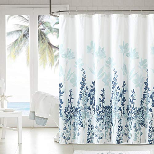 WELTRXE Fabric Shower Curtain 72x72 Inch Heavy Weighted Flowers Shower Curtain Liner Waterproof Polyester Stall Curtains with 12 Hooks for Bathroom Showers, Bathtubs