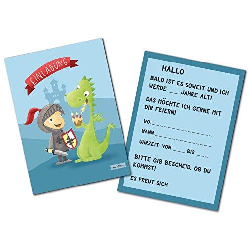 Einladungskarten für Jungen zum Kindergeburtstag/Rittergeburtstag mit Drachen und Ritter - Set zu 10 Stück - Illustration - 14,8 x 10,5 cm