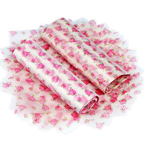 TsunNee Einpackpapier für Lebensmittel, wasserdichtes Wachspapier, öldichte Kuchenverpackungen, Geschenkpapier zum Basteln, für Käse, Nougat Schokolade, 24,8 x 22,6 cm Rosenmodell