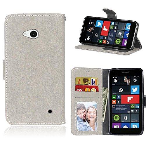 Microsoft Lumia 640 Hülle, SATURCASE Retro Mattiert PU Leder Flip Magnetverschluss Brieftasche Standfunktion Schützend Tasche Schutzhülle Handycover für Nokia/Microsoft Lumia 640 LTE (Grau)